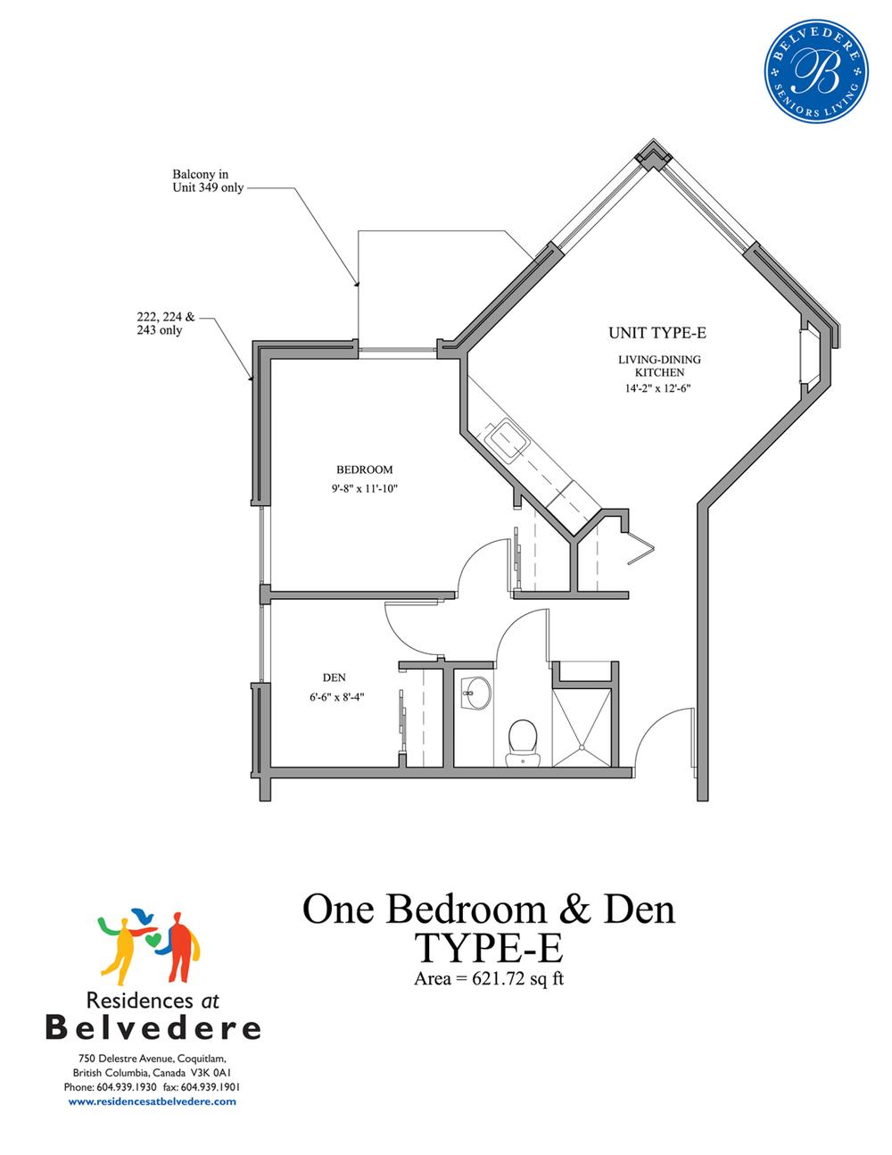 One Bedroom & Den TYPE-E