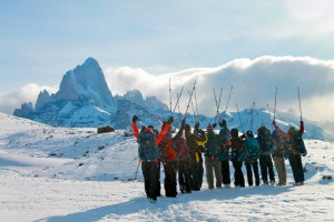 One of her groups in front of Monte Fitzroy in El Chaltén, Argentina.