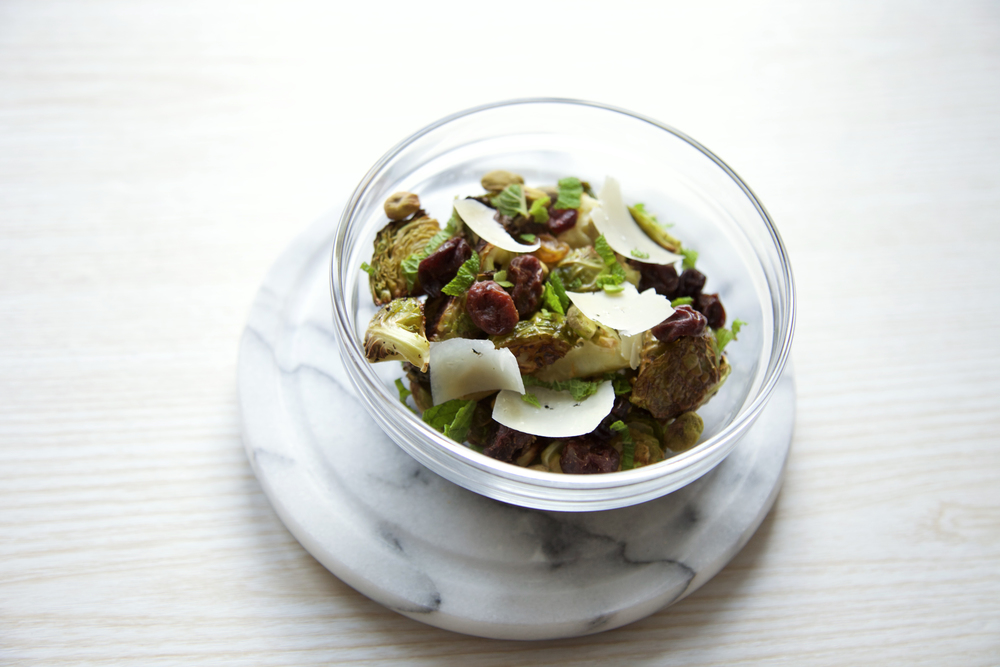 Brussels sprouts with sour cherries, parmesan and lemon