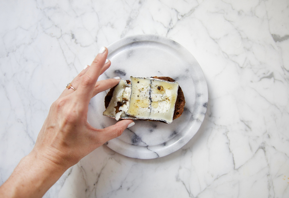 Truffle Honey and Goat Cheese toast with black pepper