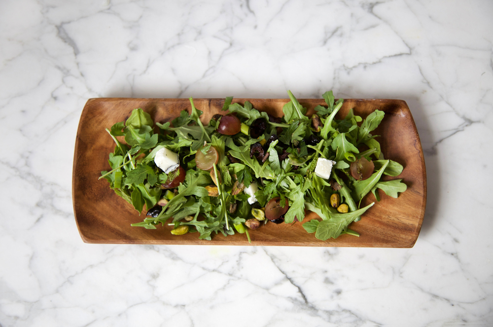Grape, Olive, Pistachio, Goat Cheese, Herb Arugula Salad