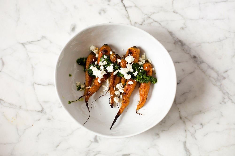Burnt Carrots with Parsley Oil and Feta