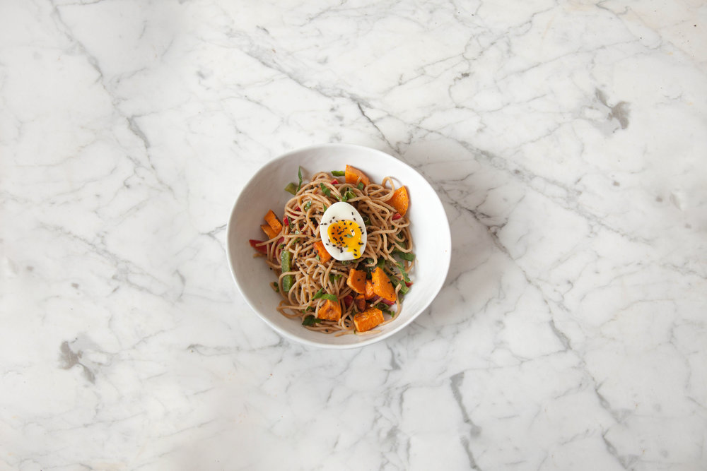 Peanut Noodles with Peppers, Sweet Potato and Soft Egg
