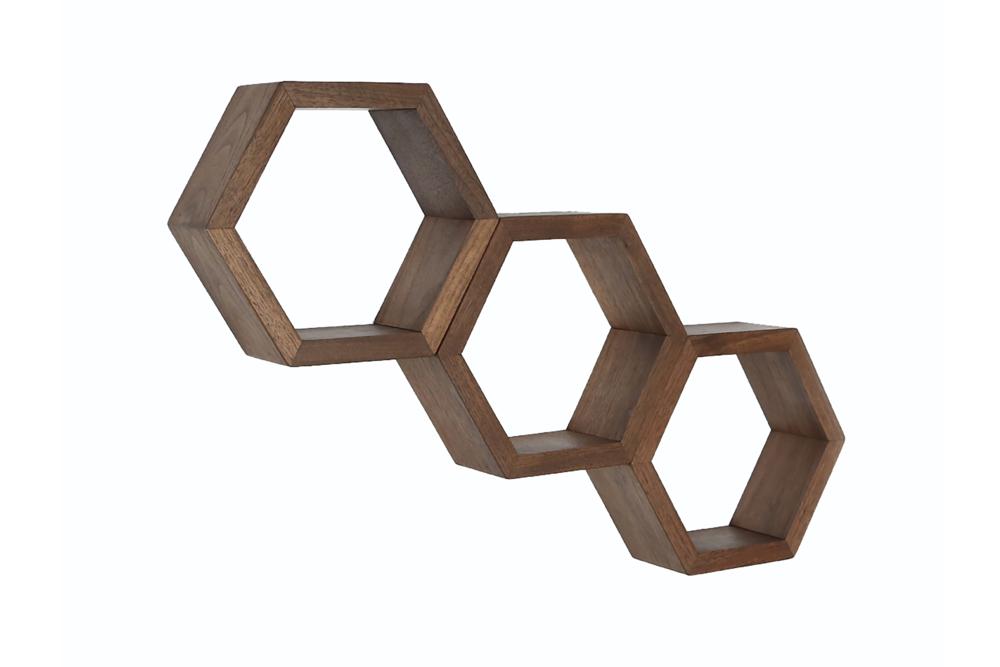 Haase Handcraft Walnut Honeycomb Shelves