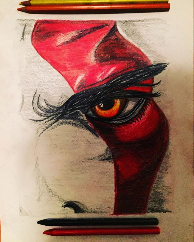 After 4 hours of playing #godofwar I thought I'd give #Kratos some #coloredpencil love