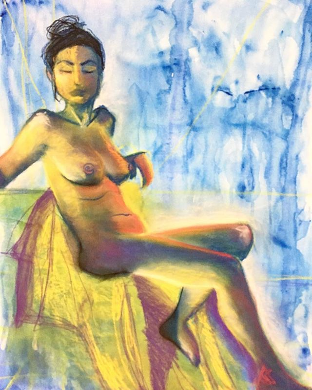 #art #drawing #mixedmedia #pastel #watercolor #model #naked #freethenipple #colortheory #value #composition #easel #creativeprocess #alotoffrustration #anger