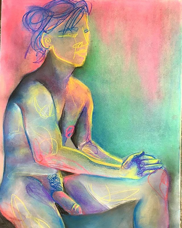 #lifedrawing #pastels #model #naked #nude #colortheory #value #composition #drawing #art #messyhands #lines #creativity