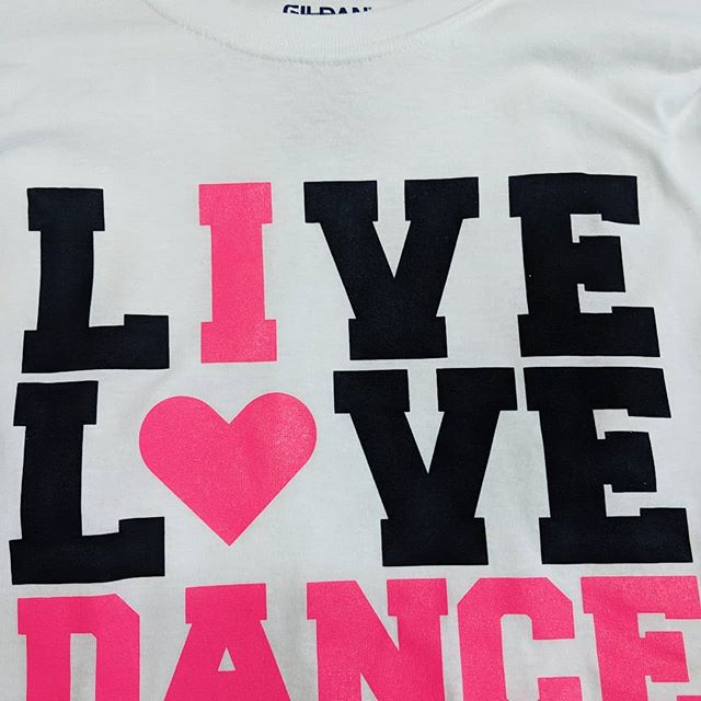 "Remember to keep an eye on our clearance rack, always adding to it. Adult Large ""live love dance"" shirt now just $8.00!"