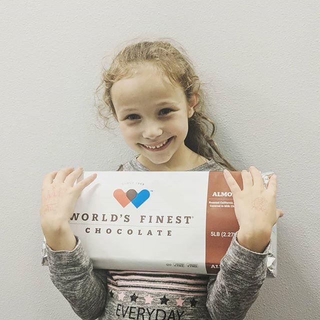 Ya'll! Someone is winning this 5lb bar of chocolate at the Winter Show! Little Miss Madi can't wait to see who!! There is still time to turn in your chocolate sales!!