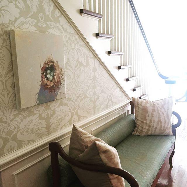 I love when clients send me photos of my work in their homes. Thanks Karen! 💕 . . #nested #oilpainting #oilonlinen #studiowork #originalworks #contemporaryart #raleighartist #ncartist #cltnc #murphyayalapaintings  #murphyayalafineart