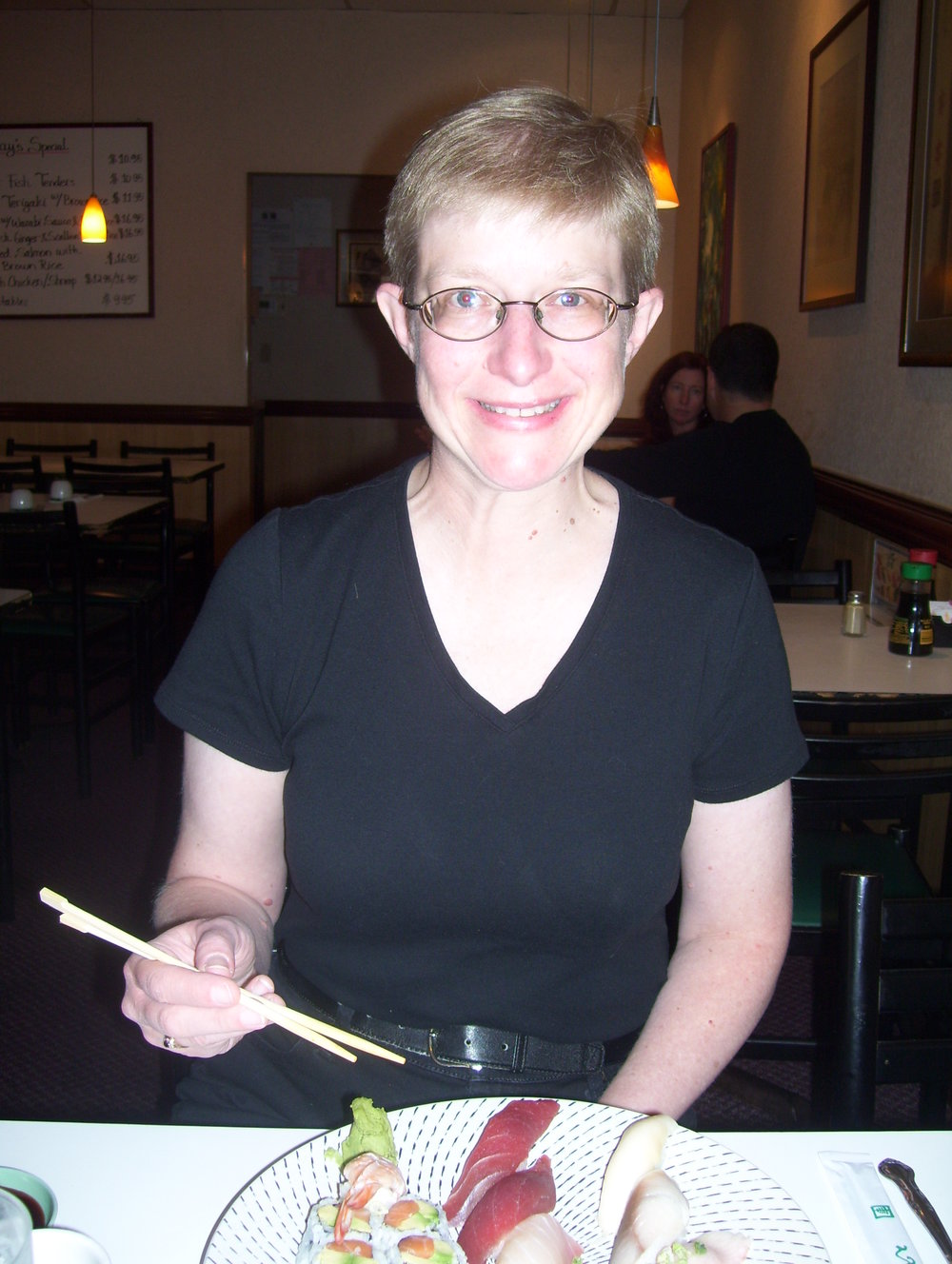 PIcture of Keyboard Cathy eating sushi
