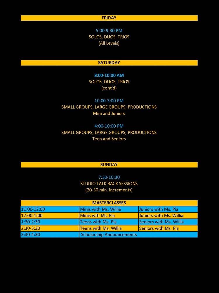mock schedule nova talent