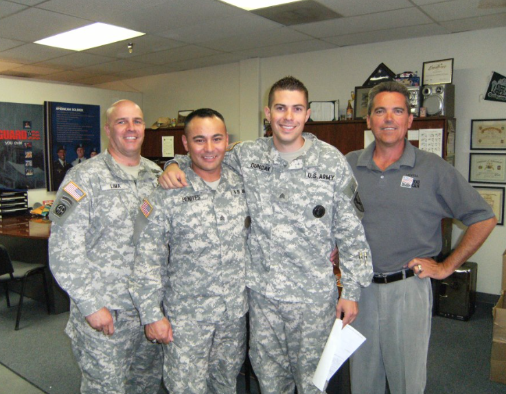 SFC Stevens and I on the right. He was my recruiter into the service, and he took a big risk on putting me into a recruiting and leadership role with minimal military experience. All these guys we  a huge inspiration during that part of my life. This was taken after being promoted for high performance. I believe this is 2010?