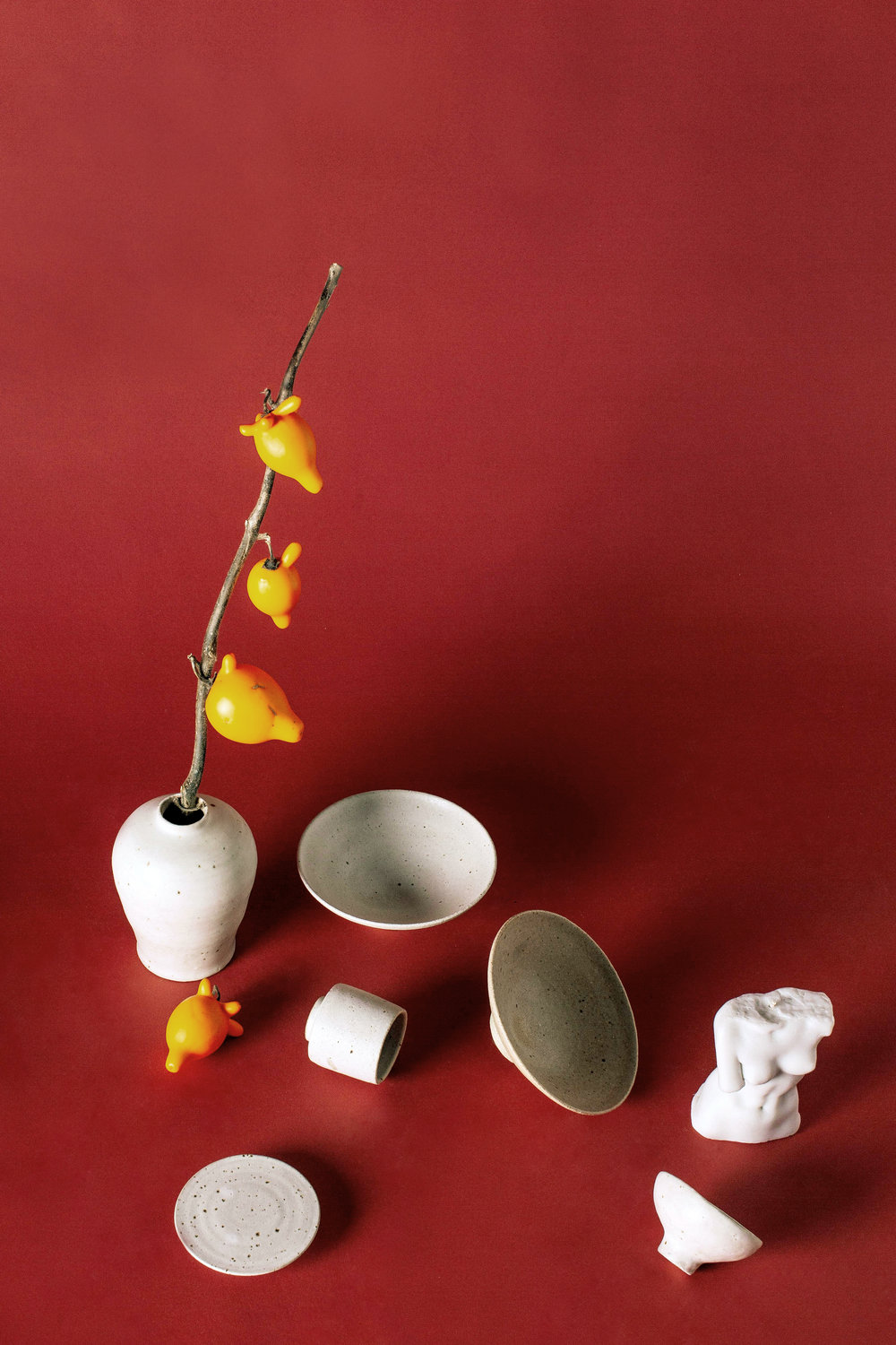 Featured: Wingnut and Co. Hakame Vase, Sake cup, Shiro Sake cup, Shiro Sweet Plate, Momo Pink Koudai and Shiro White Kodai