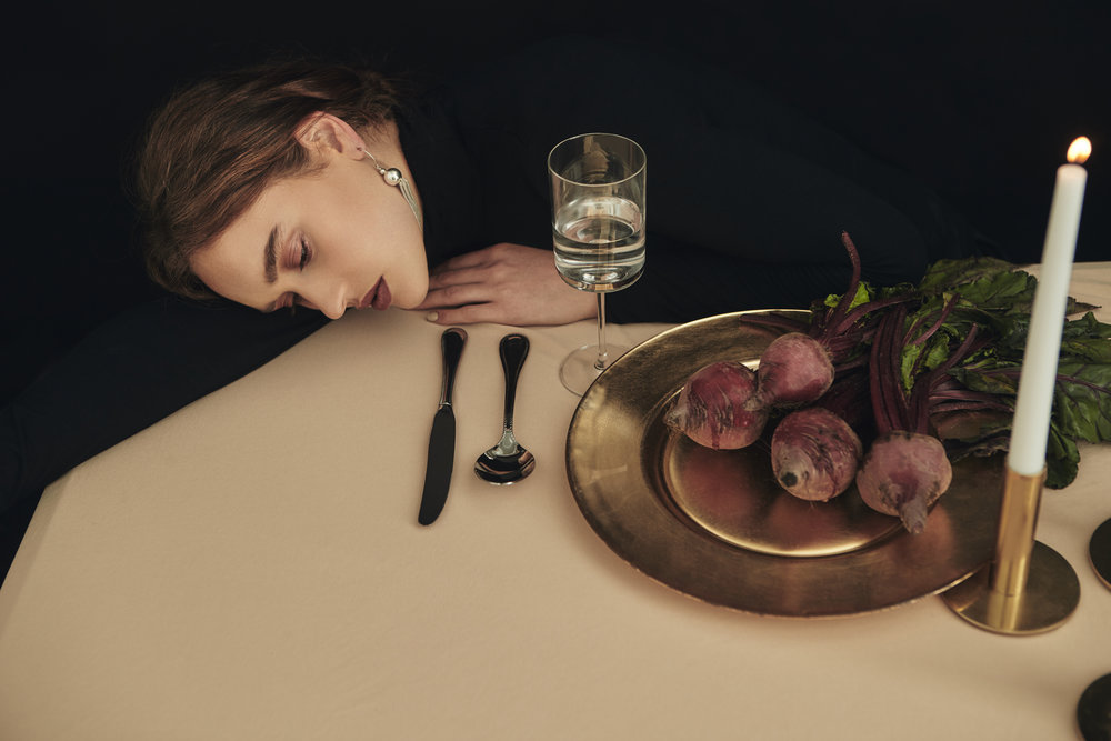 Featured:  Young Frankk: Large Silver Tassel Earring  Zara Home: Cutlery, plate, candle holders