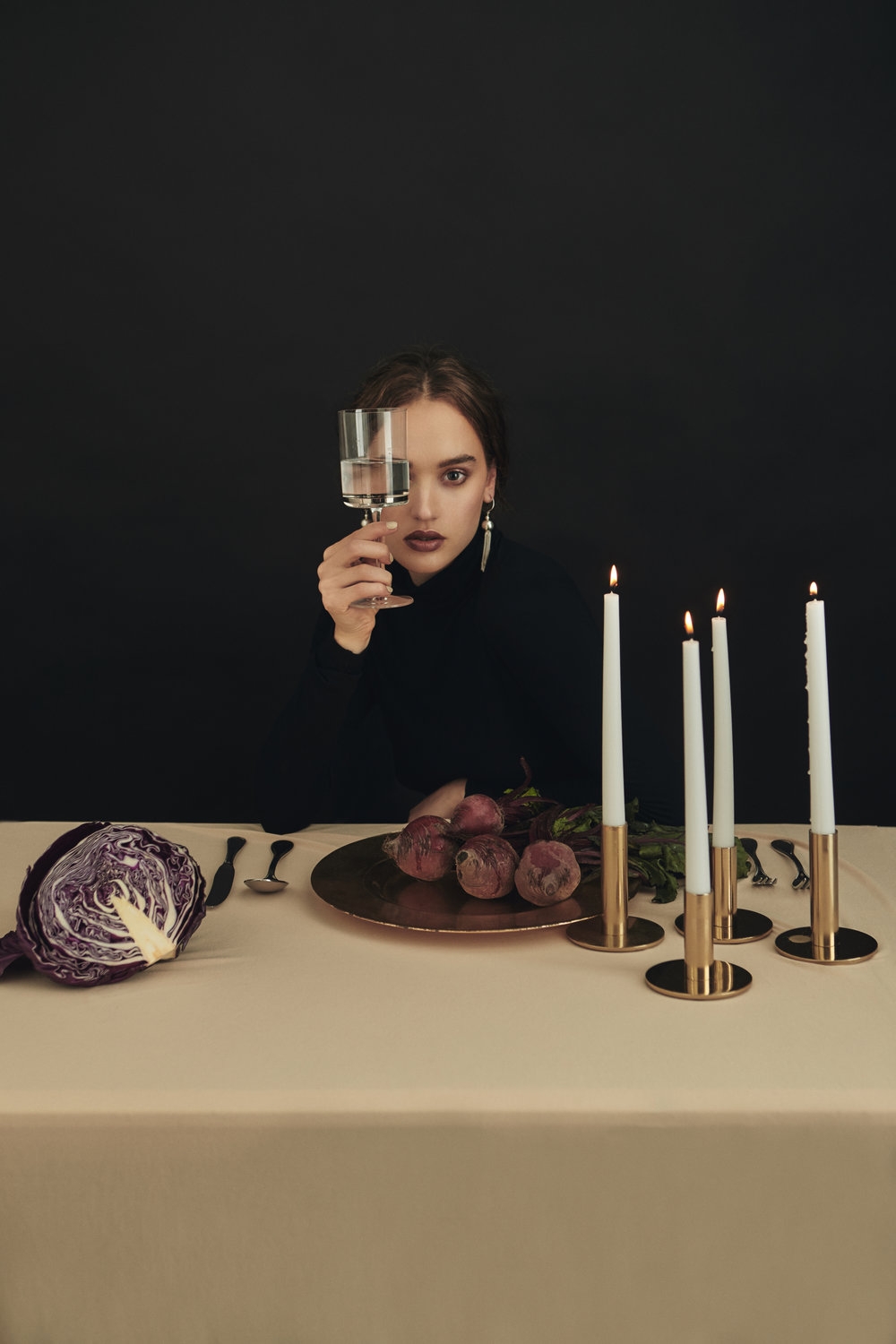 Featured:  Young Frankk:  Large Silver Tassel Earring  Zara Home: Plate, cutlery, candle holders