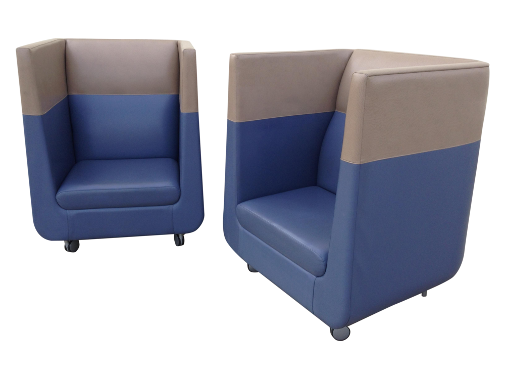 Pair of Upholstered Cube Chairs
