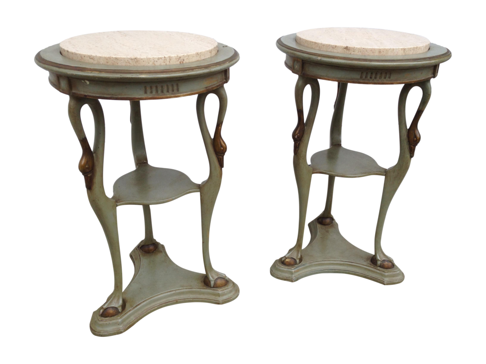 Regency Carved Wood & Travertine Side Tables