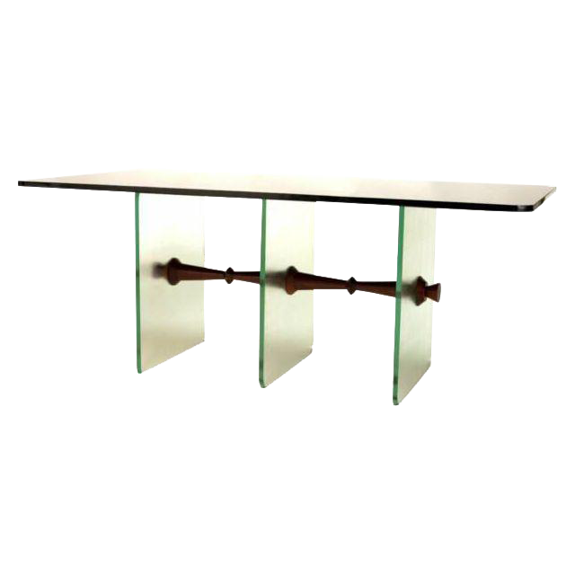Black Vitrolite Glass Dining Table