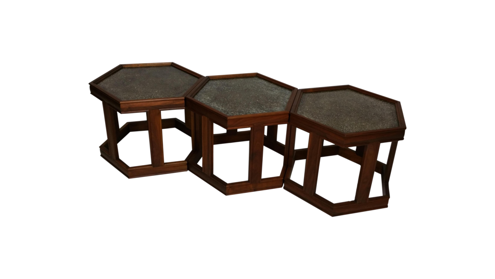 Set of 3 Brown Saltman Vintage Hexagonal Tables