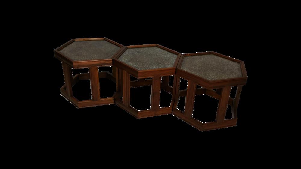 Set of 3 Brown Saltman Vintage Hexagonal Tables