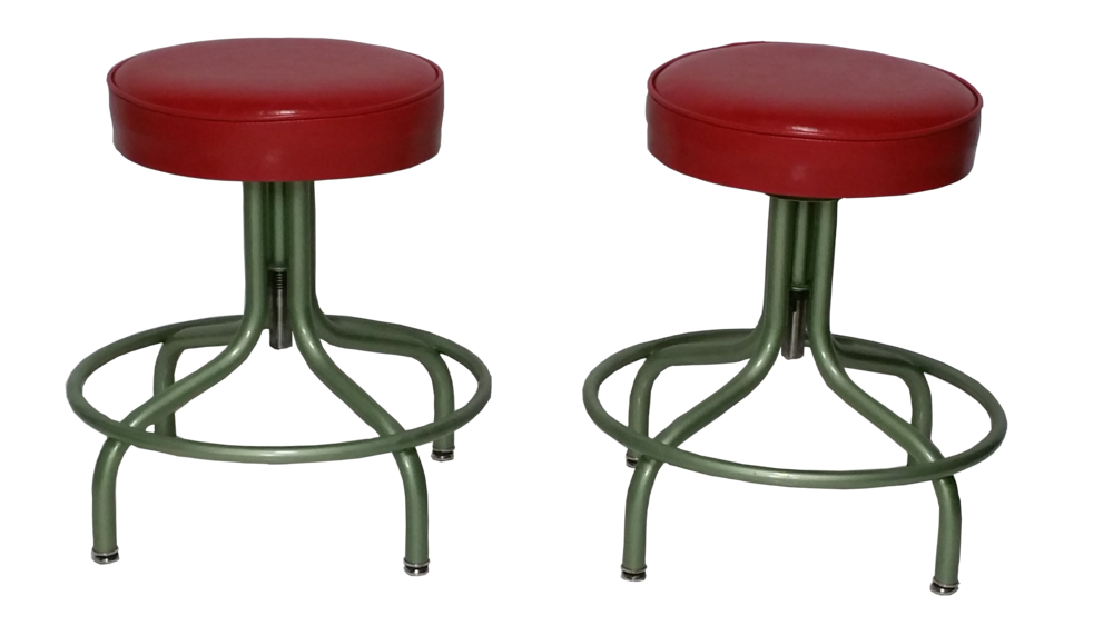 Pair ofVintage Steel Adjustable Stools