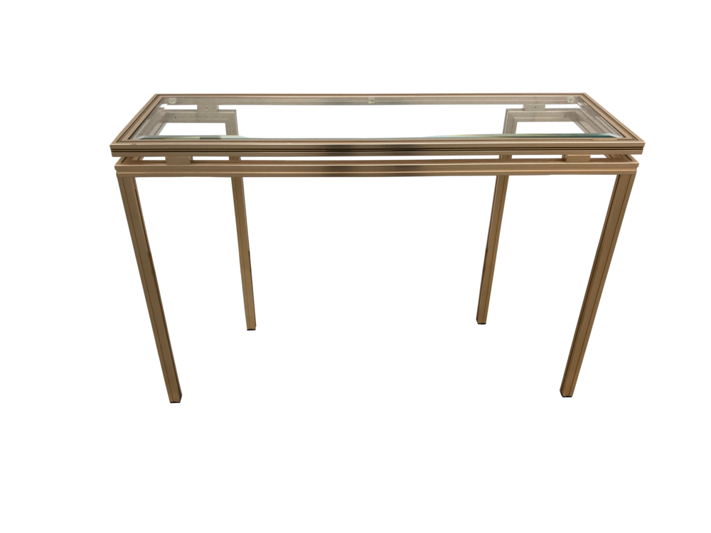 Pierre Vandel Paris Aluminium & Glass Console Table