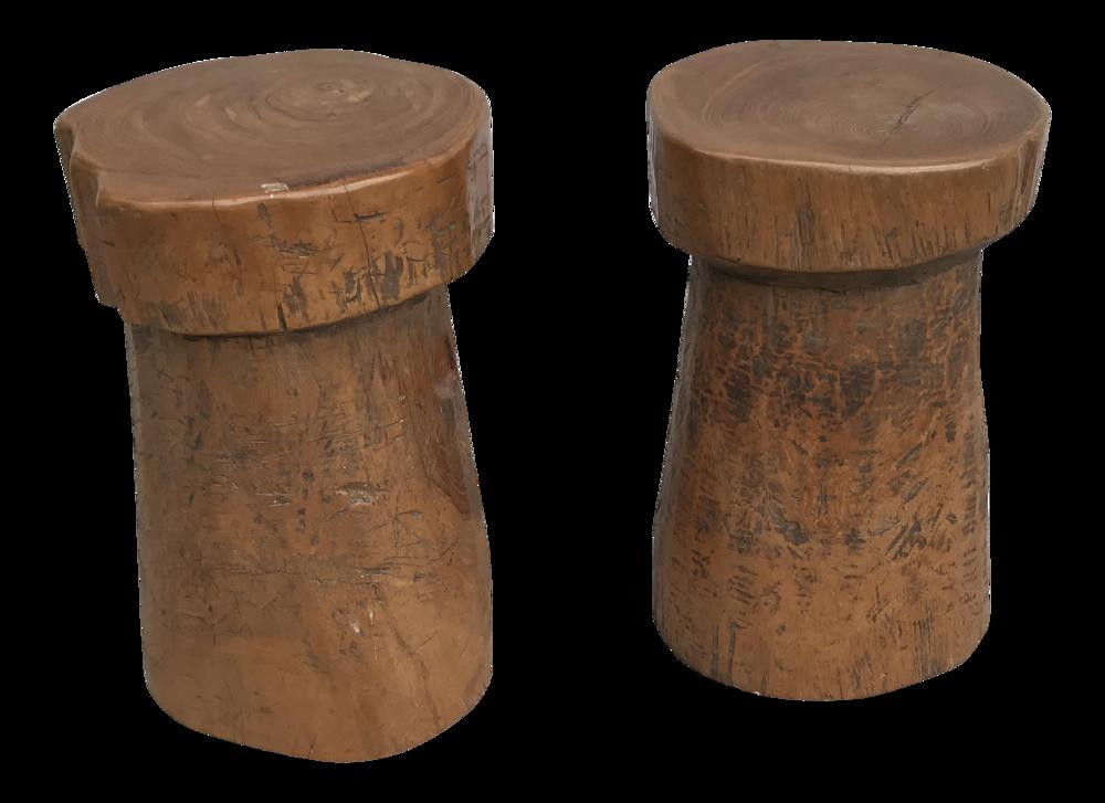 1970s Primitive Carved Wood Mushroom Stools - a Pair