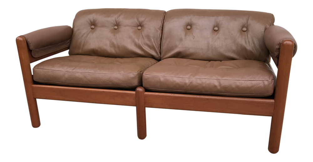 1960s Danish Modern Makael Laursen Teak & Leather Sofa