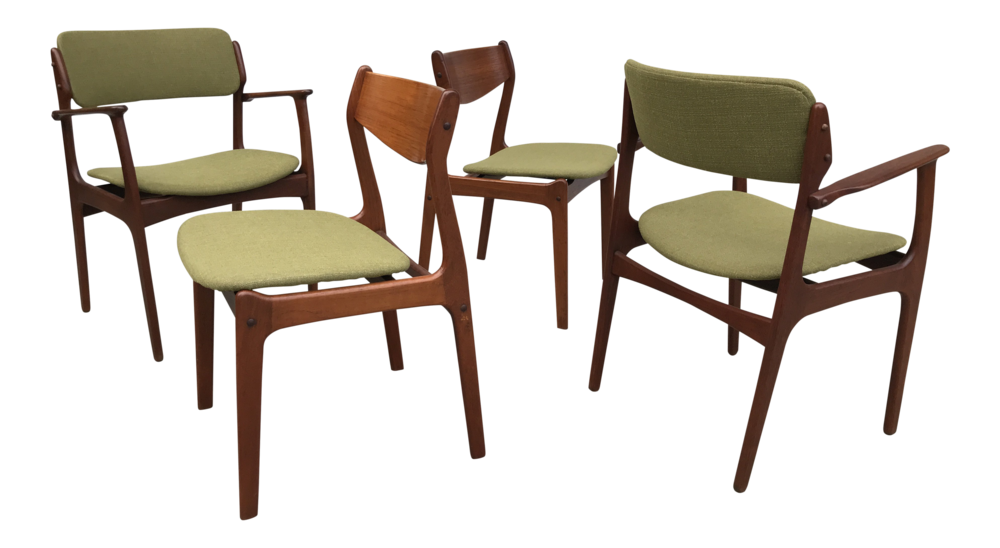 1950s Danish Modern Green Upholstred Teak Dining Chairs - Set of 4