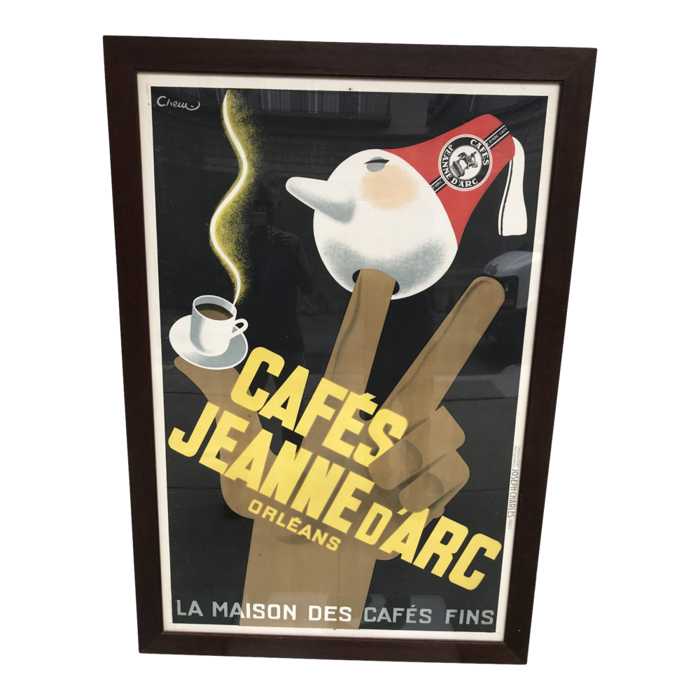 Large Framed Cafes Jeanne d'Arc Serigraph