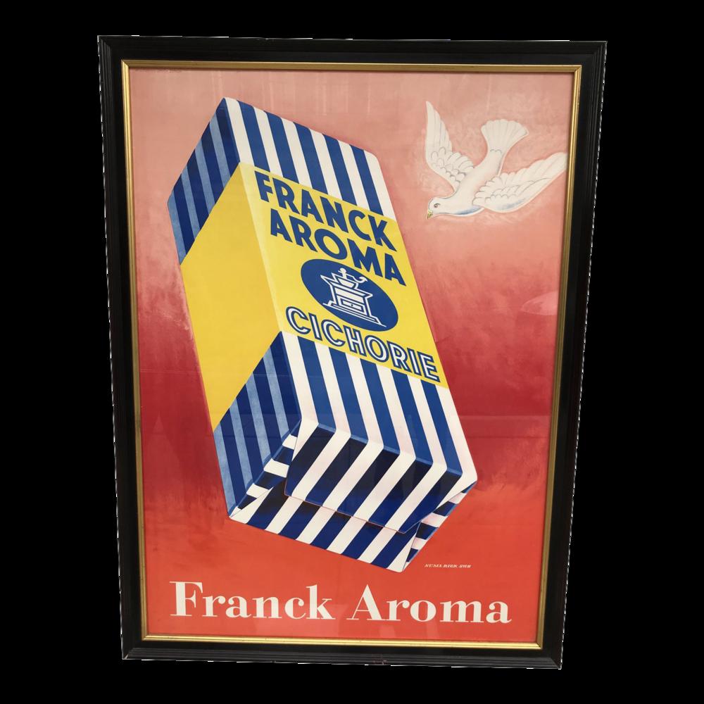 Original Vintage 1946 Frank Aroma Coffee Framed Poster