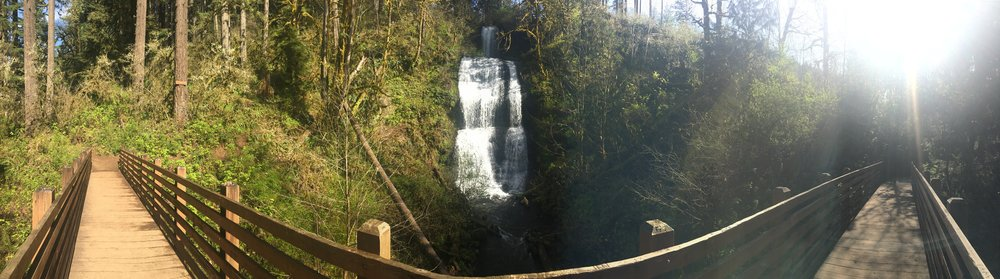 Panoramic of Majestic Falls, the second waterfall you'll pass in the loop.