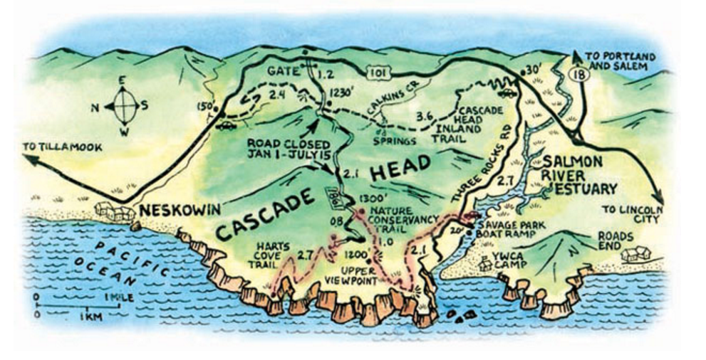 Overview of Cascade Head from  oregon.com , Hart's Cove Trail is outlined in red.