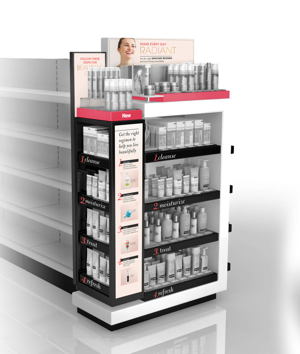 Custom display to educate on the benefit of a regimen within the premium beauty competition.