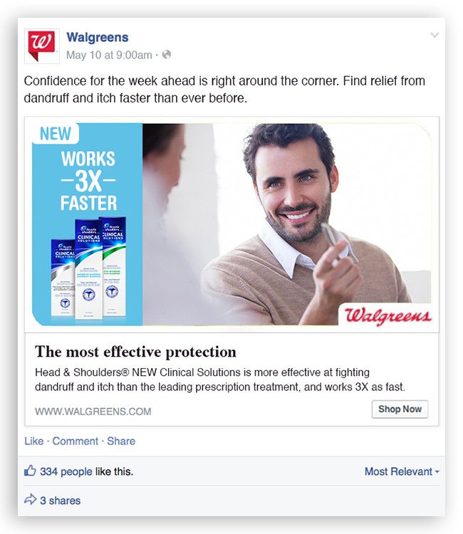 Social Media:  Combining Walgreens' look with our compelling claims.