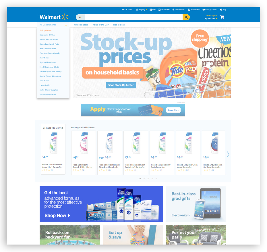 Category feature tile on Walmart.com