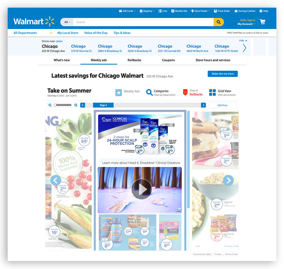 Circular feature spot on Walmart.com