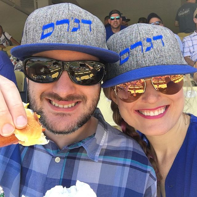Jewish Community Day isn't complete without eating kosher hot dogs from Jeff's and wearing awesome Dodgers hats written in Hebrew! #LetsGoDodgers #MLBMemoryBank #dodgersocial