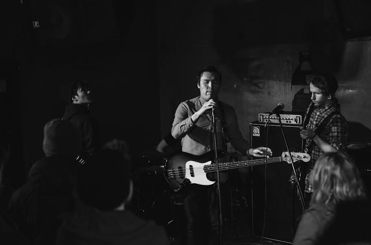 Lefthand performs at Edmonton's Wunderbar with his emo/post-punk band, Novelty 2015.