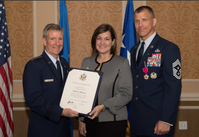 Receiving my military spouse certificate of appreciation. So special!