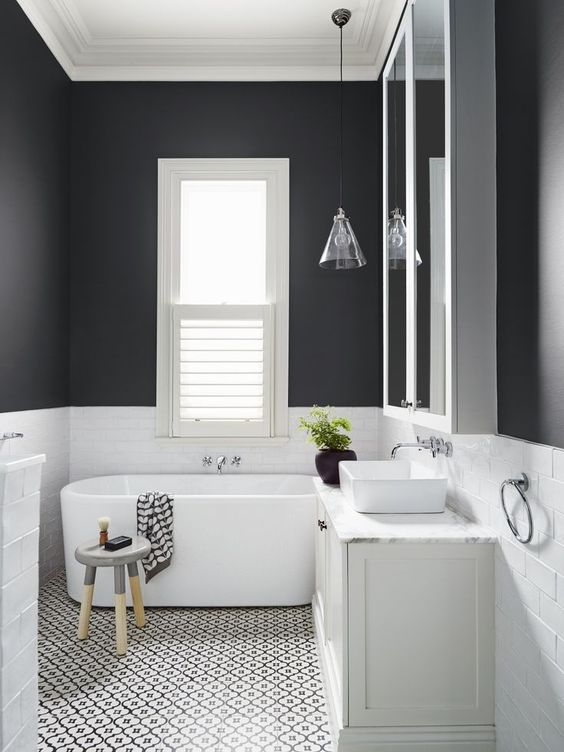 Dark colours, when done right, have impact, are extremely tasteful and give  a sense of warmth in a bathroom or kitchen.