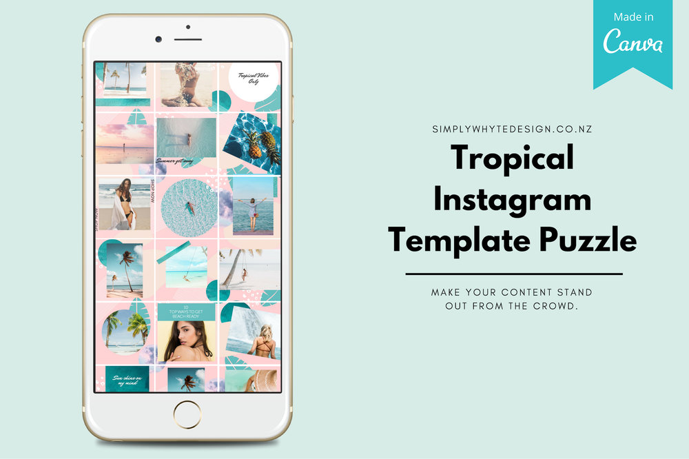 Tropical Instagram Template Puzzle Feed Template Canva Simply