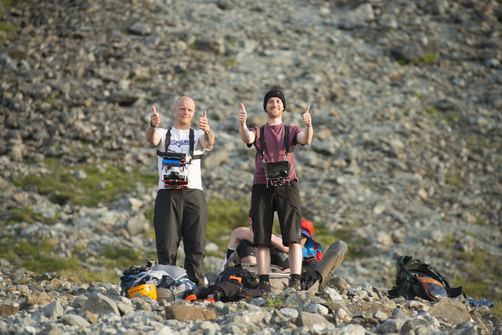 'Thumbs up for rock and roll!' Scott and Lec working together to film the incredible drone footage seen in 'The Ridge'