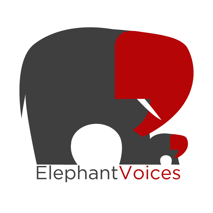 Two quotation marks representing the voices of elephants create the elephants' heads. This was created for the organization Elephant Voices, but did not get used by the NGO.