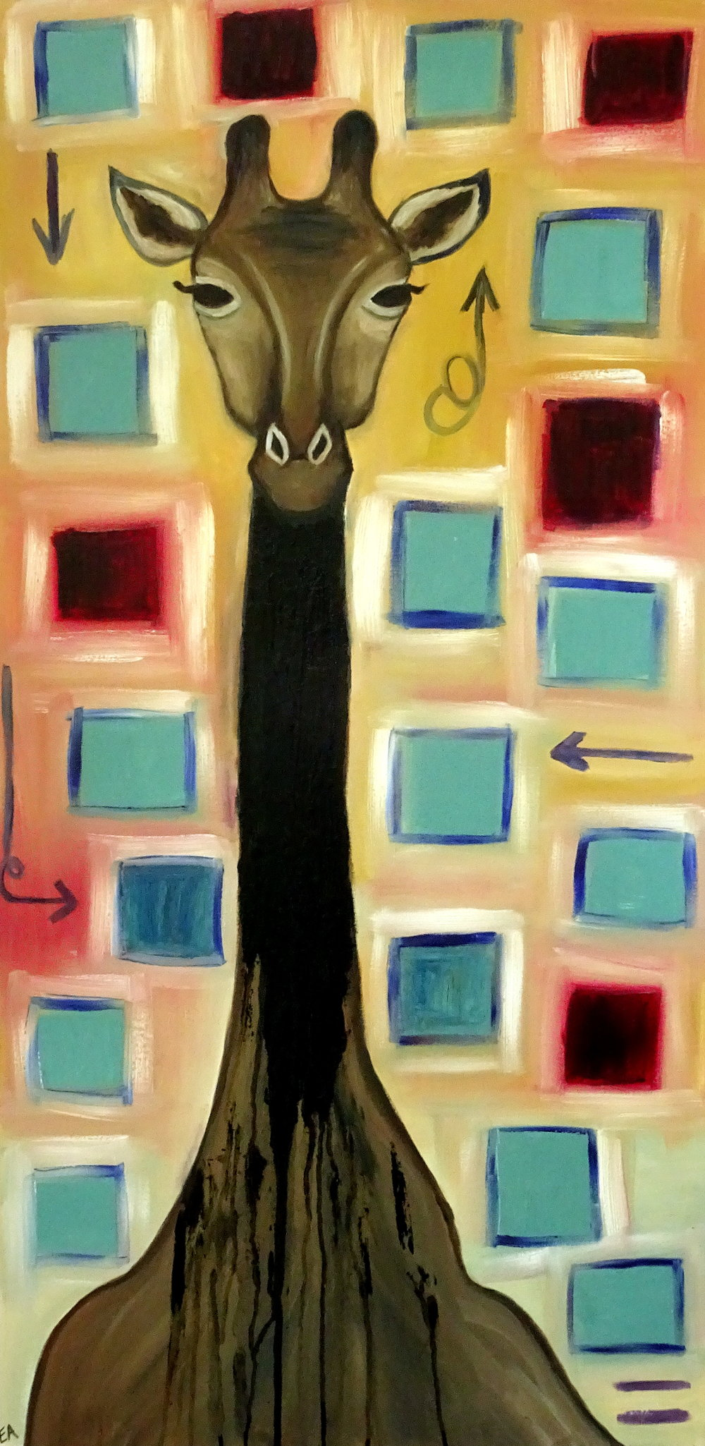 """""""God and Picasso I: Unfinished Giraffe"""" 24x48 Oil on Canvas gallery canvas. Original and prints available for purchase in online shop.."""