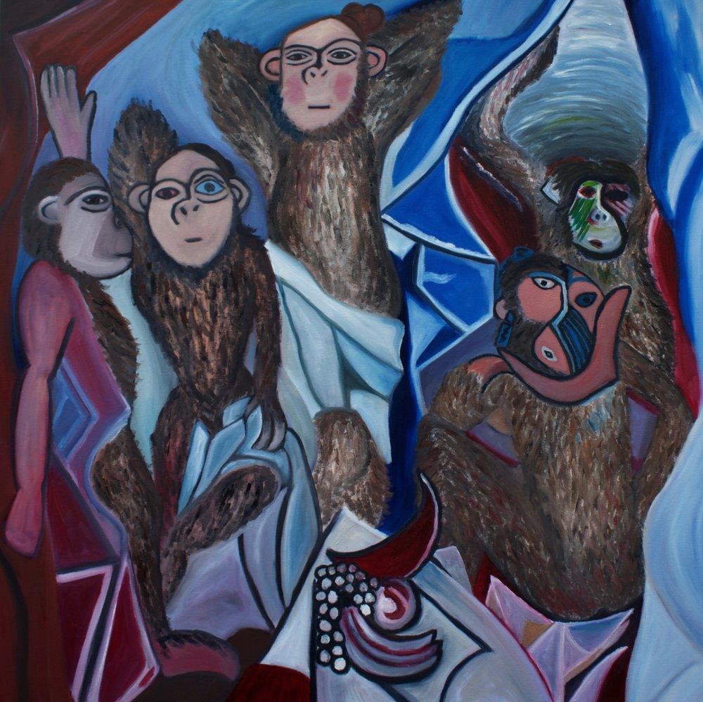 """""""God and Picasso IV: Primitive Period (Des Chimpanzes de A'vignon)"""" 36x36 Oil on Canvas. Sold. Print available in online shop."""