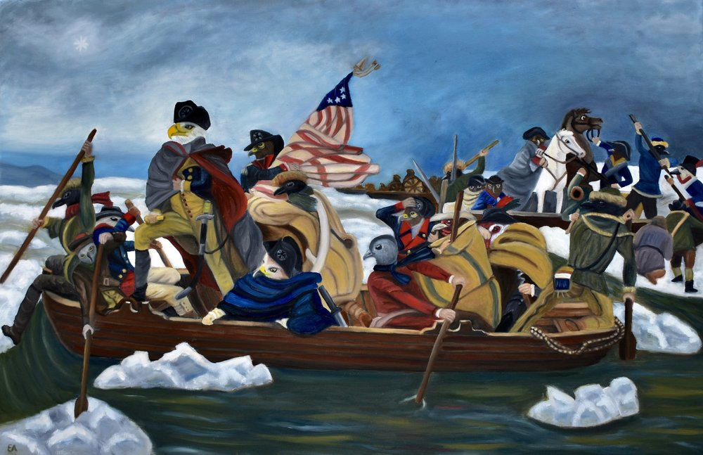 """Eagle's Crossing"" 24x36 Oil on Canvas.   It came as a surprise to me that ""Washington Crossing the Delaware"" was actually a piece of propoganda created by a German artist who hoped to use the American Revolution to inspire Europeans to push for liberal reform in mid 1800's. The figures in the original painting are a veritable melting pot of ethnicities, even including a woman at the forefront, presumably to promote the idea of a culturally diverse and forward thinking America. Replacing these figures with the appropriate birds was a challenge. Washington himself, of course, could easily be represented by a bald eagle. Most of the other birds are chosen because they are the national bird of the original individual or a close equivalent. The Native American figures are represented by crows because of their respect for the crow. The Scotsman have the Golden Eyed eagle as their equivalent as it is the national bird of Scotland. The African figures are represented by the Hamerkop, the National Bird of Gambia. The two figures that seem to be farmers have been replaced with chickens. And the non-descript white soldiers are either Common Buzzards or Imperial Eagles, this choice mainly being a personal preference for the look of these birds. Finally, the lady in red in the front is a Cat Bird, well, you can guess why...   Painting Inspired by: ""Washington Crossing the Delaware"" Emanuel Leutze, 1851."