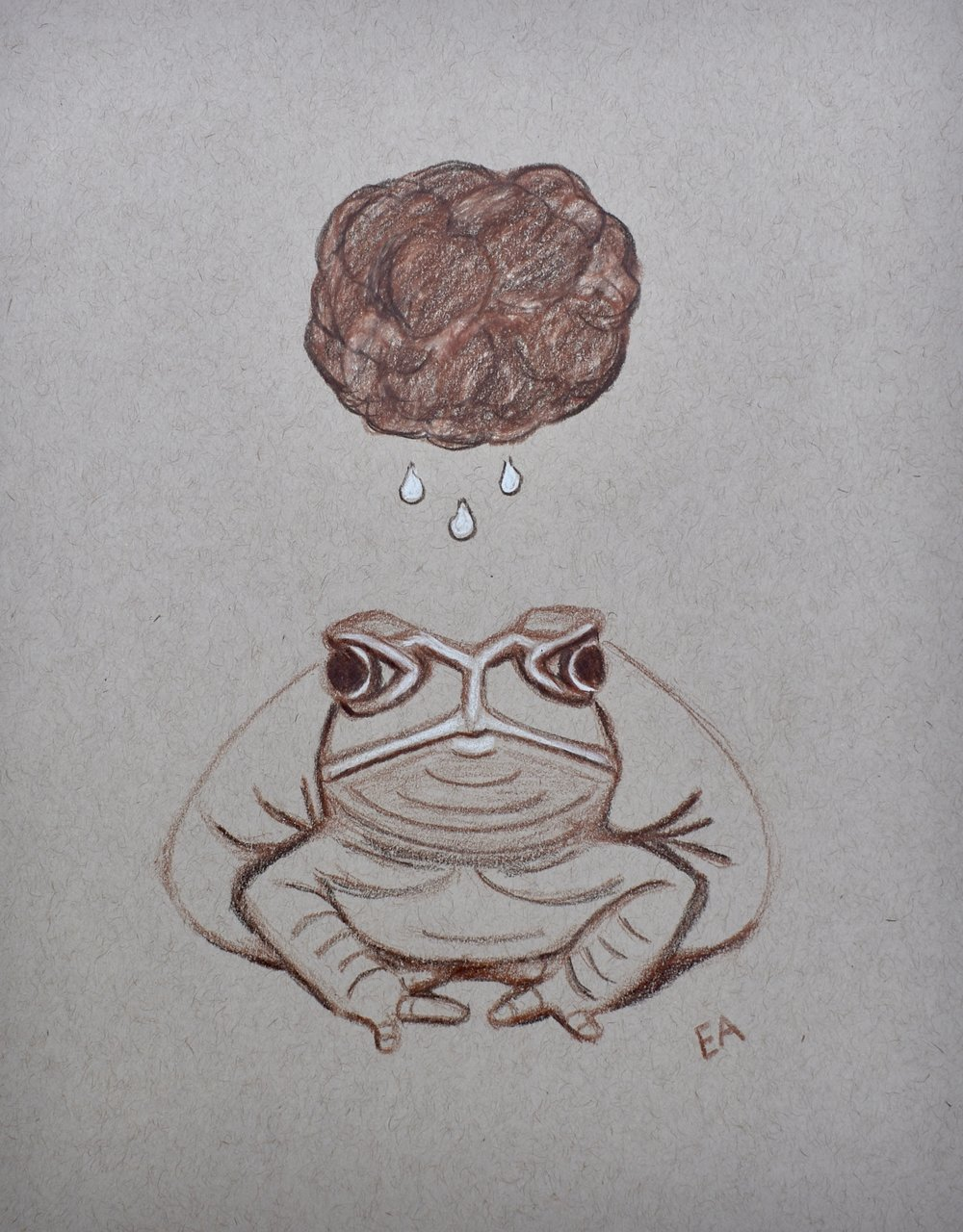 """Grumpy Toad"" 8x10 Prismacolor Pencil on toned paper."