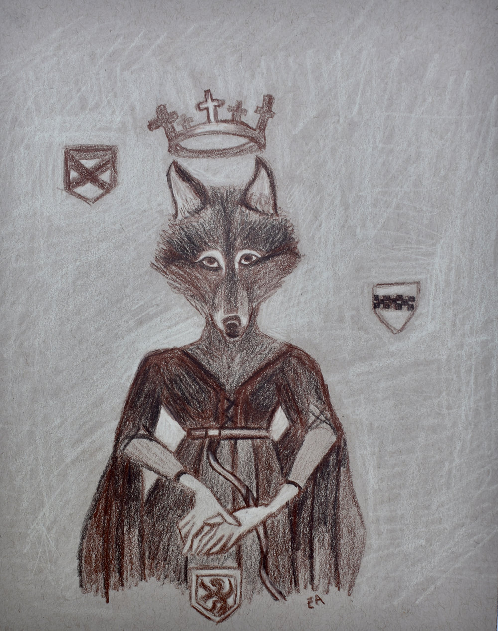 """The She Wolf of France"" (Concept Drawing) 8x10 Prismacolor Pencil on toned paper. SOLD"